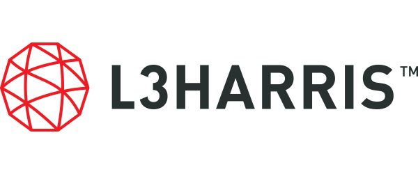 """L3 Harris logo; image of a red geometric sphere with the words """"L3 Harris"""" in black trademarked."""