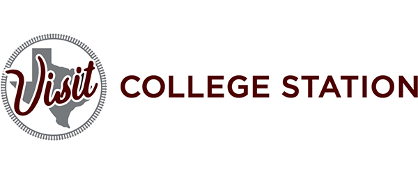 """Visit College Station logo; the word """"Visit"""" in a circle with the state of Texas in the background following by the words """"College Station"""" in maroon."""