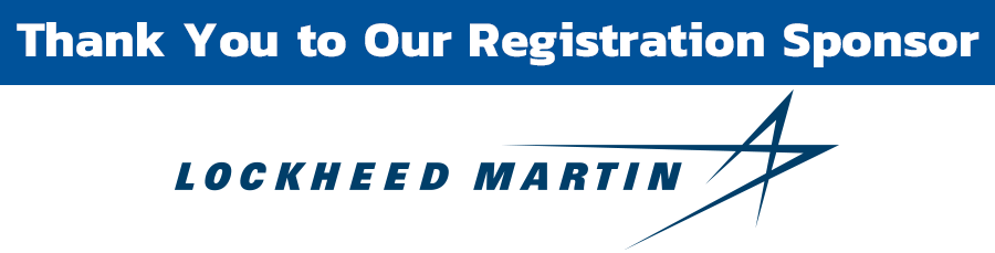 """Banner that says """"Thank you to our Registration Sponsor"""" with the Lockheed Martin logo."""