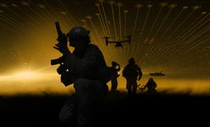 2021 SOFIC image; the silhouettes or soldiers amongst a yellow background with planes in the sky.